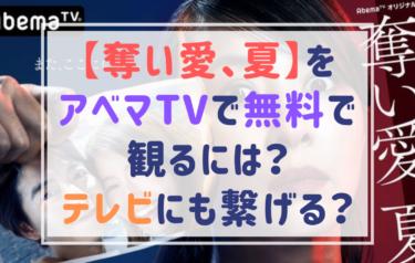 【奪い愛、夏】の視聴方法は?Abema(アベマ)TVを無料で観る、テレビに繋ぐ方法をチェック!